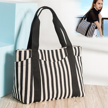 Luxury Brand Women Shoulder Bags Eco Striped Thicken Canvas