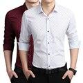 Brand new fall 2016 mens shirts Korean slim fashion wave point printing cotton long-sleeved casual shirt size M-5XL tide