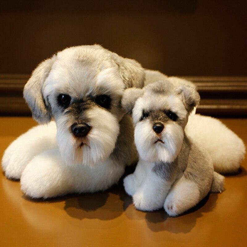 kawaii Schnauzer Dog Plush Toy Small Soft Simulation Kids Stuffed Animal Toys for Children Cute Photo