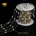 5 М Цепи Четки Белый Хрусталя Кварц Гладкой Риса Бисера Позолоченные Цепи Ожерелье Делая HX011