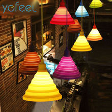Modern Simple Colorful Silicone Pendant Lights Fashion DIY Design Color Children Bedroom Restaurant Pendant Lamp Single Head E27