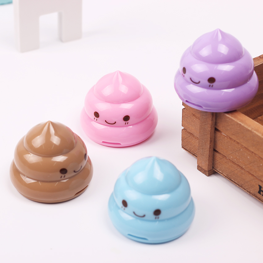 1 Pc Kawaii Shit Pencil Sharpener Shape Mini Cutter Knife Double Orifice Promotional Originality Gift Stationery Random Color Back To Search Resultsoffice & School Supplies