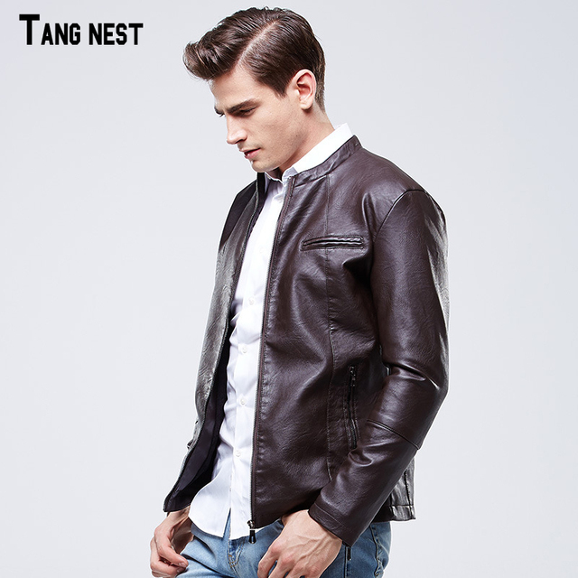 TANGNEST Men's Leather Jacket 2017 New Arrival Men Casual PU Solid Jackets Male Slim Stand Collar Fleece Warm Coat  MWP324