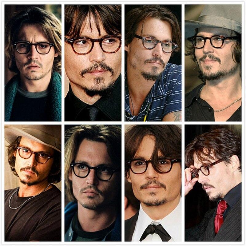 Image 2 - Johnny Depp Glasses Men Women Computer Goggles Round Transparent Eyeglass Brand design Acetate Style Vintage Glasses Frame sq004-in Men's Eyewear Frames from Apparel Accessories