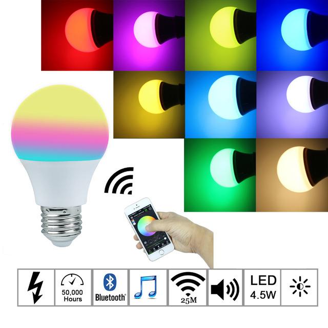 2016New Magia Azul 4.5 W E27 RGBW lâmpada led Bluetooth 4.0 mudança de cor da lâmpada de iluminação inteligente regulável AC85-265V para casa hotel