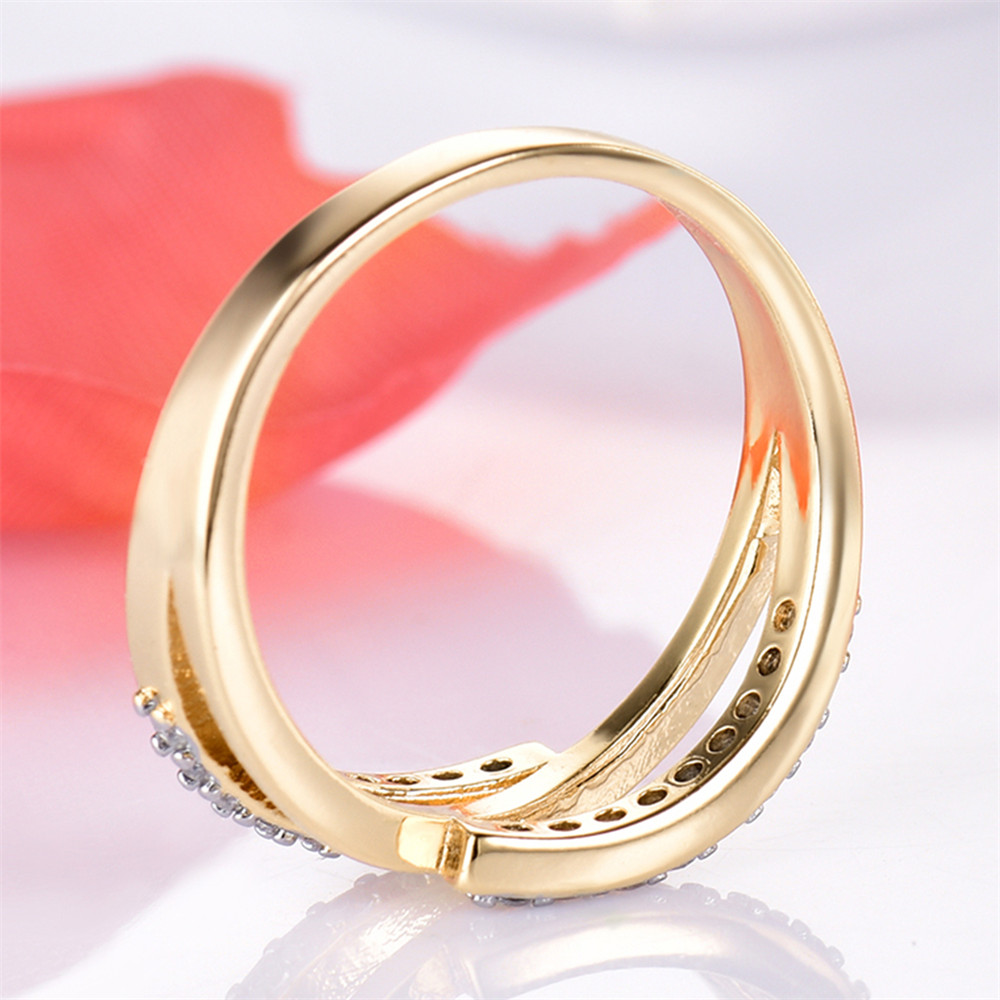 MOLIAM Hot Fashion Ladies Rings Gold Color Sparkling Stackable Ring ...