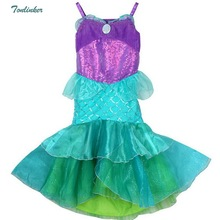 New Sequin Mermaid Dress Children Halloween Little Ruffle Tutu Cosplay Costumes for Kids Carnival Vestido 2018