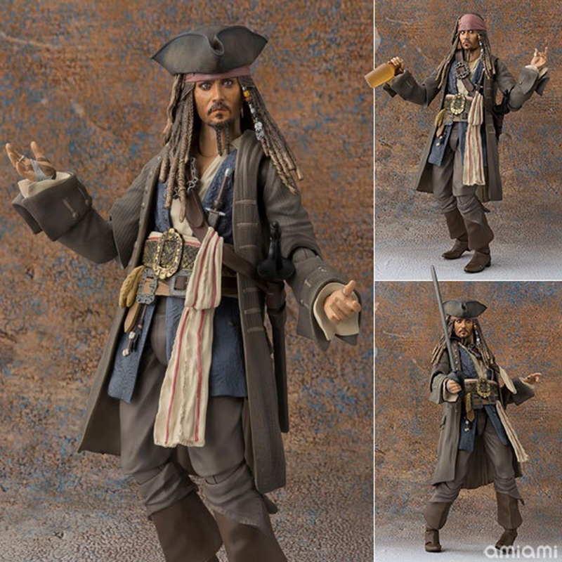 16cm SHF Pirates of the Caribbean: Dead Men Tell No Tales Captain Jack Sparrow Jointed Action Figures Toy