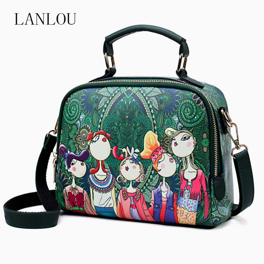 LANLOU Handbag Women Shoulder Bag Luxury Handbags Women Bags Designer High-grade Printing Leather Fashion Women Messenger Bag