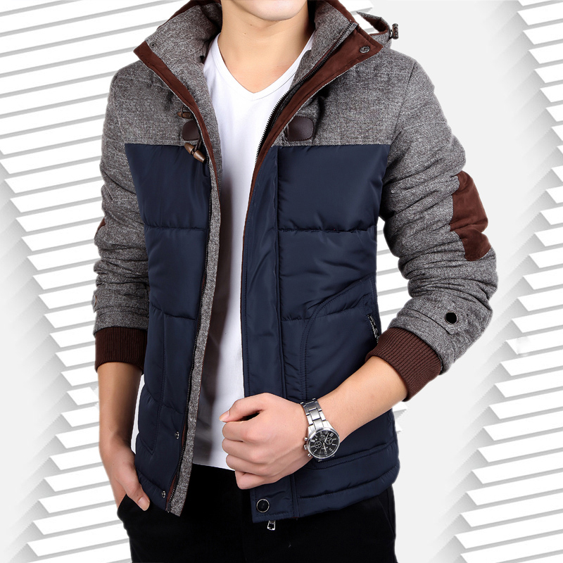 2017mkmj Patchwork Cotton padded Jacket Winter Jacket Men Warm Parkas Casual Thick Hooded Zipper Coat Outerwear