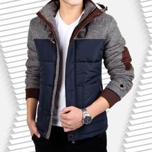 2017mkmj Patchwork Cotton-padded Jacket Winter Jacket Men Warm Parkas Casual Thick Hooded Zipper Coat Outerwear