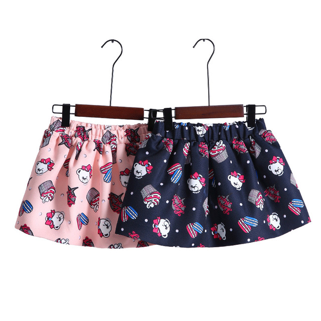Fashion 3-16Y Children's Clothing Spring Autumn Girls Skirt Teenager Cartoon Printing Skirts Kids Wear Child Clothes