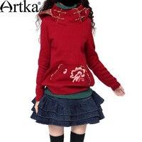 Artka المرأة سماكة الصوف الزهور المطرزة أزرار لوحة جيب السترة البلوز VA10036D الجلد ودية