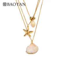 BAOYAN Fashion Boho Jewelry Multi Layer Gold Stainless Steel Starfish Pendant Necklaces Bohemian Natural Shell Seashell Necklace