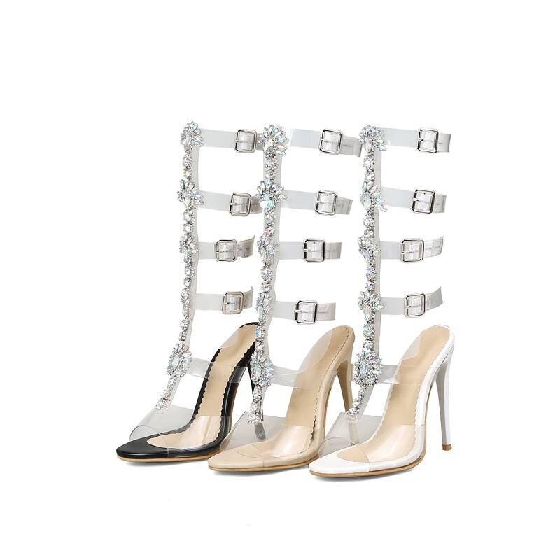 Sandales Nouveau Gladiateur Genou Noir Strass white 2019 Femmes Sexy Chaussures apricot Blanc Haute Toe Peep Famso Femelle Partie Black 4qwt5pRxnx