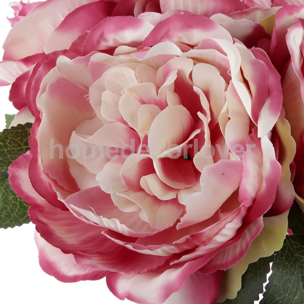 Artificial 6 Head Peony Silk Blooming Flower Bouquet Home Room Party