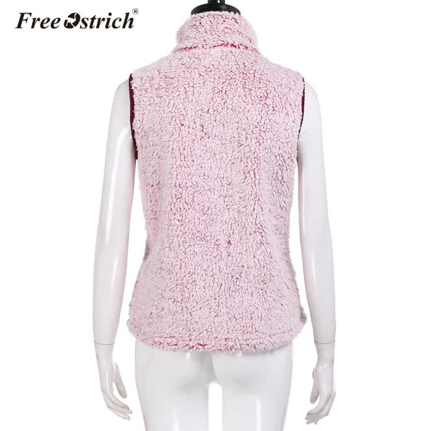 Free Ostrich Vest Women Winter Flannel Zipper Pockets Casual Warm Outerwear Vest Stand Collar veste Femme A0235