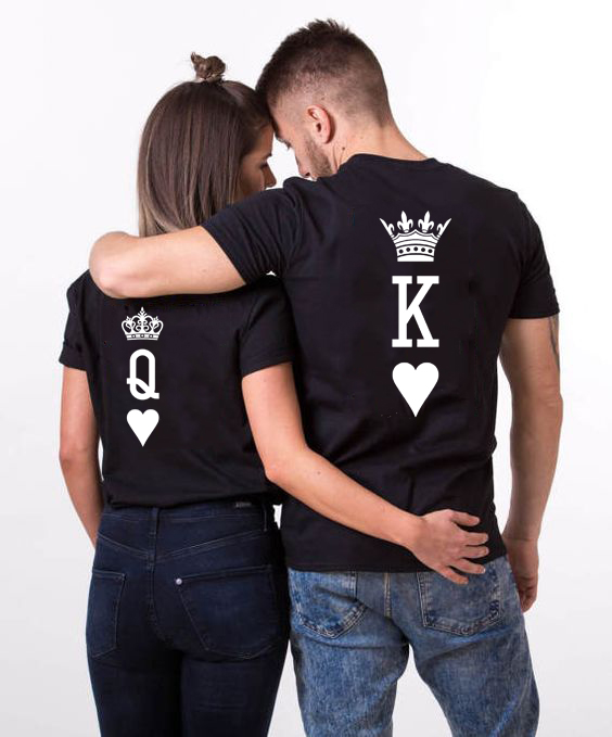 <font><b>King</b></font> <font><b>Queen</b></font> Couples <font><b>T</b></font> <font><b>Shirt</b></font> Crown Printing Couple Summer <font><b>T</b></font>-<font><b>shirt</b></font> 2019 Casual O-neck Tops Lovers Tee <font><b>Shirt</b></font> Valentines 's Day Gift image