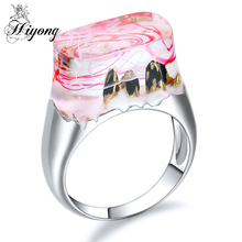Three Mountain Clouds filled Wonderland Resin Rings for Women Jewelry Gift for Her Transparent Stacking Rings Eco-friendly Brass