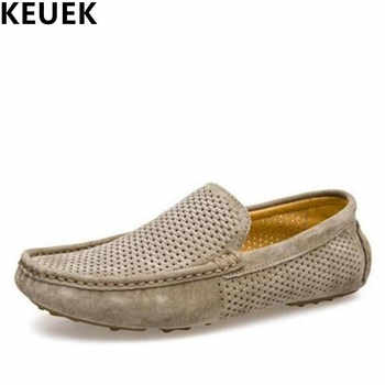 Genuine leather Men Loafers Breathable Summer Slip-On Flats Male Boat shoes Casual Driving shoes Hollow Out Moccasins 022 - DISCOUNT ITEM  45% OFF Shoes