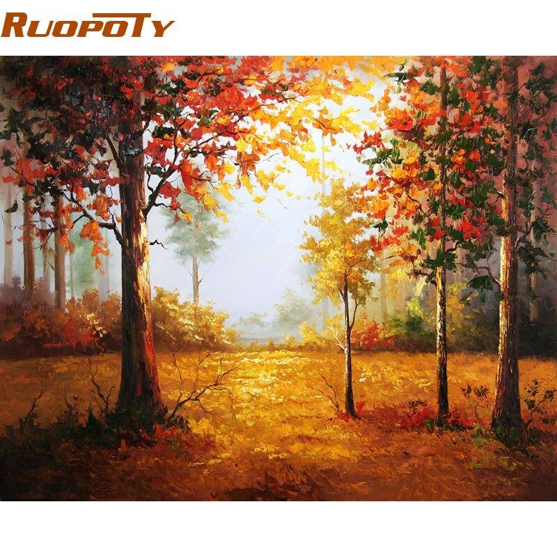 RUOPOTY Rahmen Herbst Landschaft Diy Malen Nach Zahlen Handgemaltes Wandkunst Bild Einzigartiges Geschenk Wohnkultur Für Kunstwerk 40x50 cm