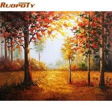 RUOPOTY إطار خريف منظر طبيعي دهان داي بواسطة أرقام هاندبينتيد جدار صورة فنية هدية فريدة ديكور المنزل للأعمال الفنية 40x50cm