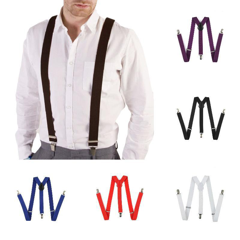 Men's Adjustable Suspenders For Shirts Pants Jeans Clip-on Braces Elastic Y-Back Suspend Slim Men Women Unisex Suspenders(China)