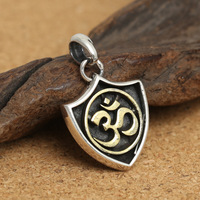 A large number of wholesale manufacturers S925 sterling silver jewelry silver retro six words shield man Pendant