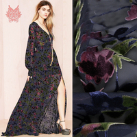 Elegant rose floral burnout rayon velvet silk fabric apparel for dress transparent natural silk tissu stoffens yarn cloth SP4891