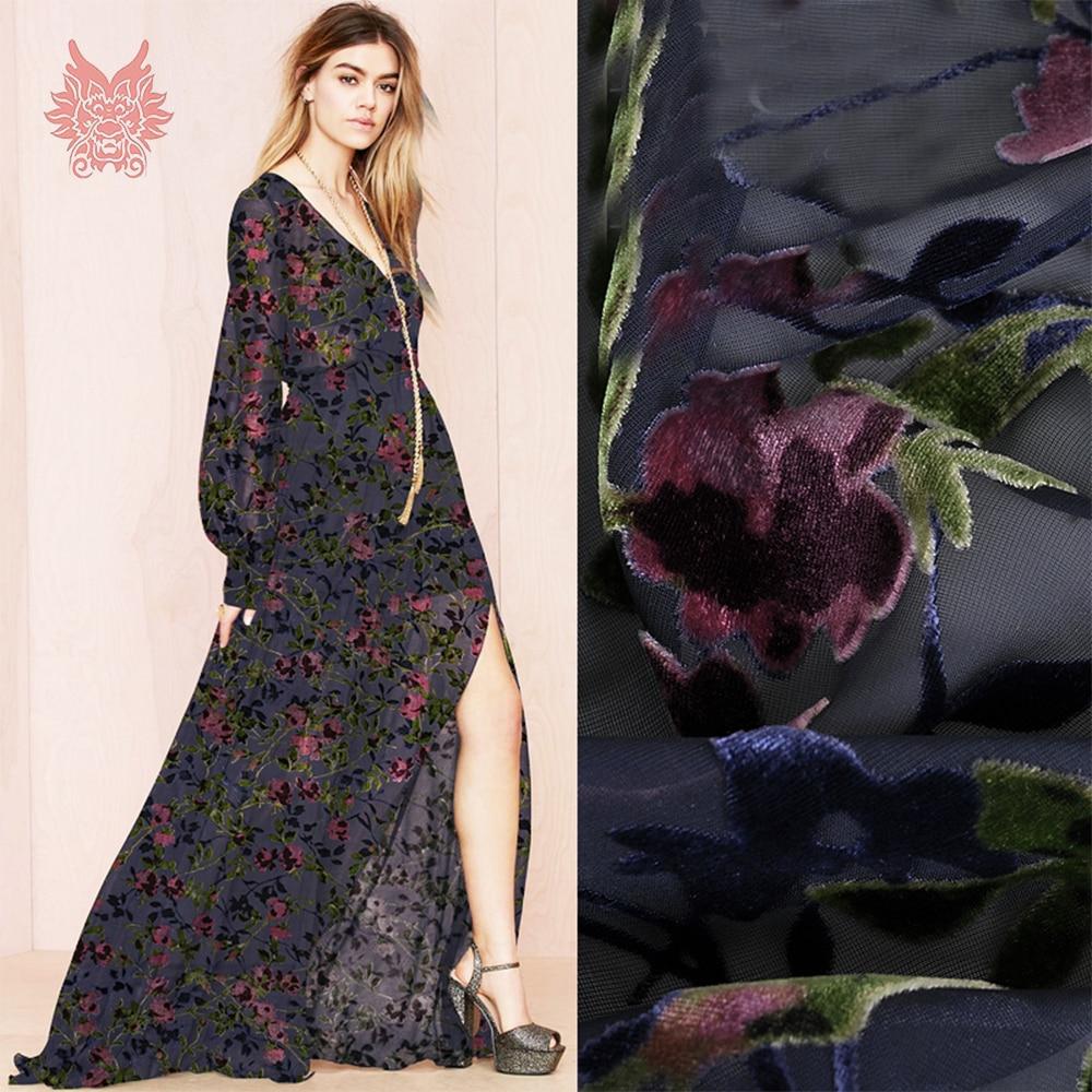 Elegante Rosa floral burnout rayón terciopelo seda tela ropa para vestido transparente SEDA natural tissu stoffens hilo tela SP4891-in Tela from Hogar y Mascotas    1