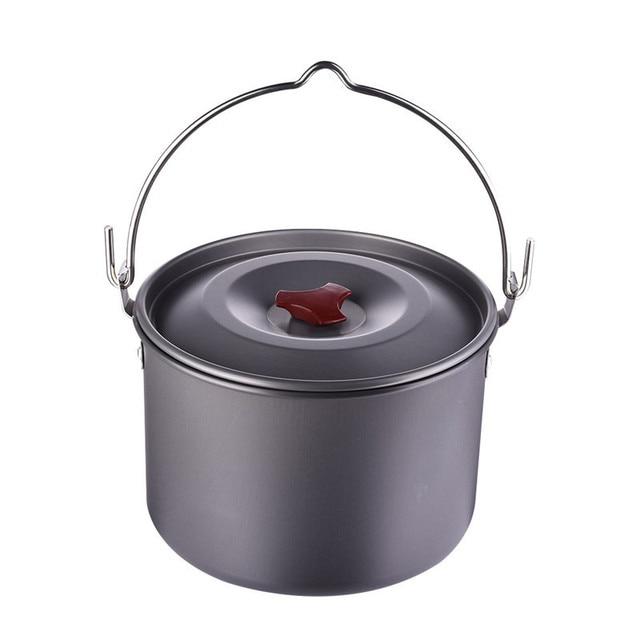 5L Cooking Pots Pans Outdoor Camping Cookware Hanging Picnic Pot Pan Aluminum Alloy Camping Stove Tool