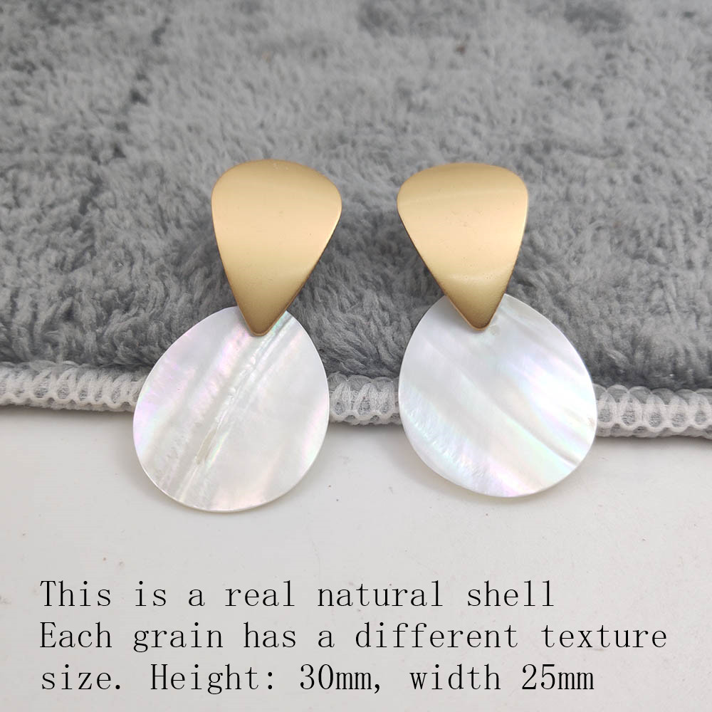 Fashion Wedding Jewelry Hanging Natural Shell Pearl Geometric Earrings High Quality Natural Shell Pendant Earrings for women P40 30