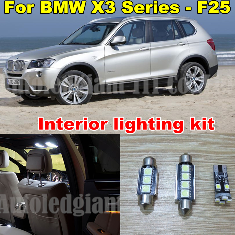 WLJH White Canbus Car Dome Vanity Puddle LED for BMW X3 Series - F25 LED Interior lighting kit - Pack Bulb 2011-2014 20x 2pcs 12v 31mm 36mm 39mm 41mm canbus led auto festoon light error free interior doom lamp car styling for volvo bmw audi benz