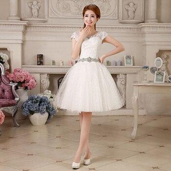Vestidos de boda románticos, baratos, 2016, cortos, sexys, 2014, encaje para Vestido de novia, fajas de cristal con flores, Vestido de novia, Envío Gratis