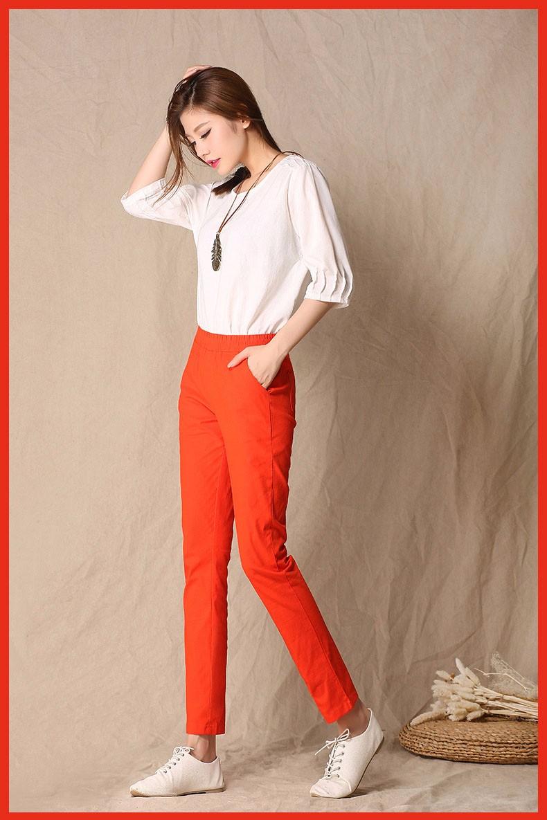 Women Ankle Length linen pants casual pencil pants sport pants Slim solid spring summer autumn trousers for women plus size A375 c