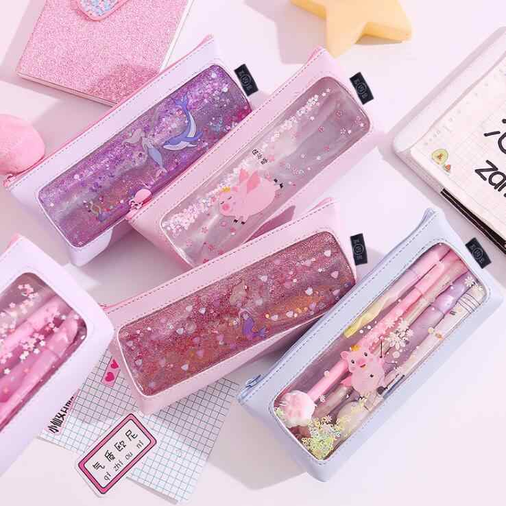 1PC Kawaii Mermaid Large Capacity Bling Bling Pencil Case School Pen Case Supplies Pencil Bag Pencils Pouch Stationery