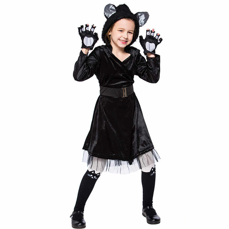 ... Girls Halloween Bear Costume Children Black Cat Cosplay Kigurumi Winter  Animal pajamas Kid Carnival Purim party ... eed80893e5c6