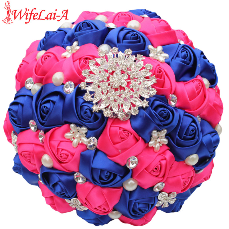 Wifelai a 1piece royal blue rose red bridal bouquets shiny diamond brooch pearl artificial holding flowers