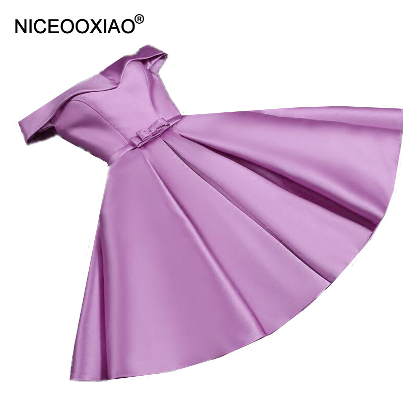 NICEOOXIAO Purple Short   Evening     Dress   2019 New Ball Gown Bow-Tie Party   Evening     Dress   Elegant Formal   Dress   Abendkleid AW16