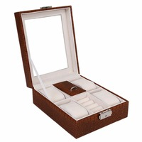 หรูหรากล่องเก็บนาฬิกาสีน้ำตาลหนังสีขาวนาฬิกาคอลเลกชันกรณี6กริดออแกไน