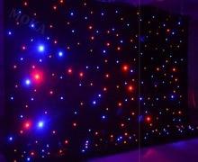 1 stks/partij 4m * 6m (H/L) RGBY mengen LED Stage Achtergrond, LED Ster Doek DMX gecontroleerde LED vliesgevel voor Bruiloft Decoratie