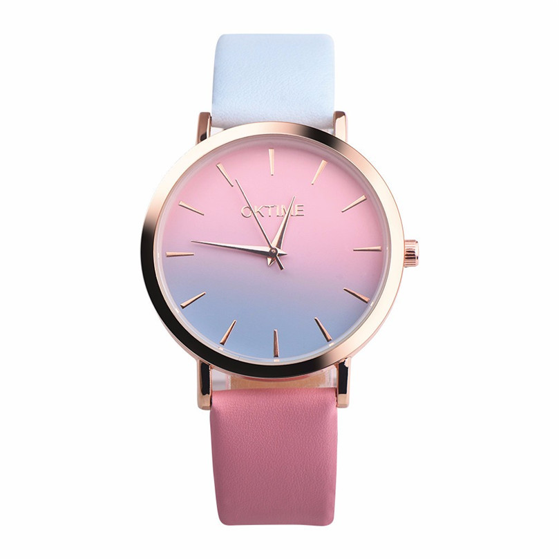 Vintage fashion Women's Watch Hot Maketing Retro Rainbow Design Leather Band Analog Alloy Quartz Wrist Watch XL50 2017 hot sale women s clock retro rainbow design watches pu leather band analog alloy quartz wrist watch relogio feminino m22