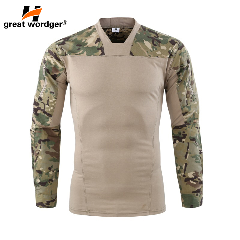 Outdoor Camouflage Army T-Shirt Men US RU Soldiers Combat Tactical T Shirt Military Force Multicam Long Sleeve Hiking T Shirts grid hollow design t shirts in army green