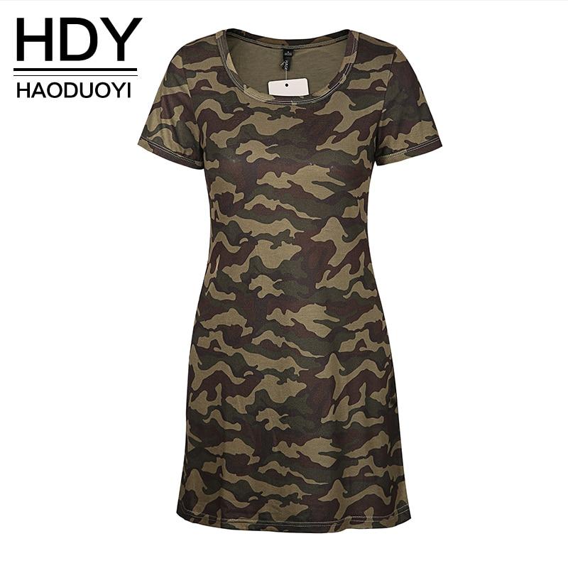 79c720f872532 HDY Haoduoyi Women Summer Army Vintage Camouflage Print Dress Short Sleeve  O-neck Girl Short