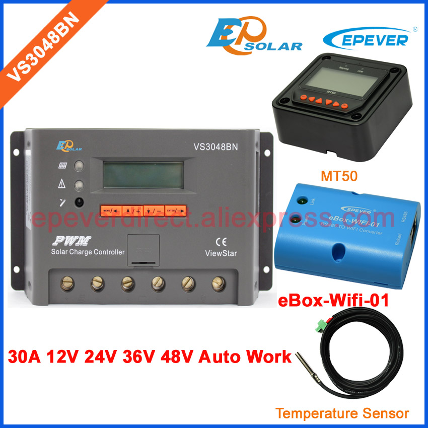Battery charger solar controller 30A 30amp VS3048BN lcd screen EPEVER EPSolar wifi BOX meter MT50 and temperature sensor 20a daul battery solar charger controller duo battery charge controller with remote lcd meter mt 1 meter 1 for rvs boat golf bus