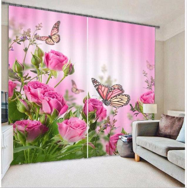Pink Flowers Butterfly Modern 3D Blackout Curtains Drapes For Living ...