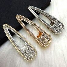 Ubuhle 2019 Elegant Pearl Hairpins Fashion Flash Luxury Full Rhinestone Crystal Barrettes Hair Clips for Women Accessories