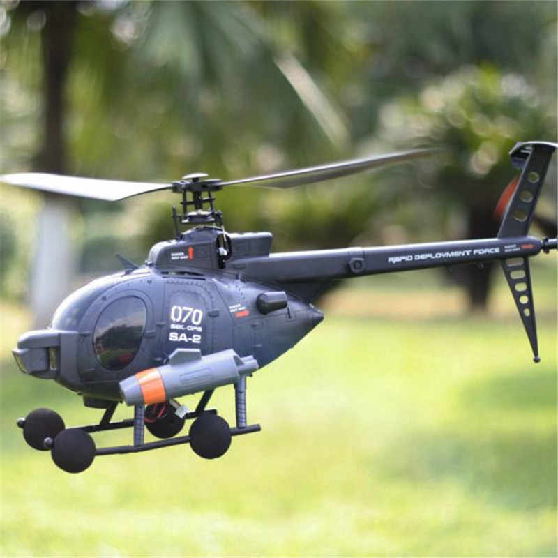 Oryginalny FX070C 2.4G 4CH 6-Axis Gyro, Flybarless MD500 skala RC helikopter