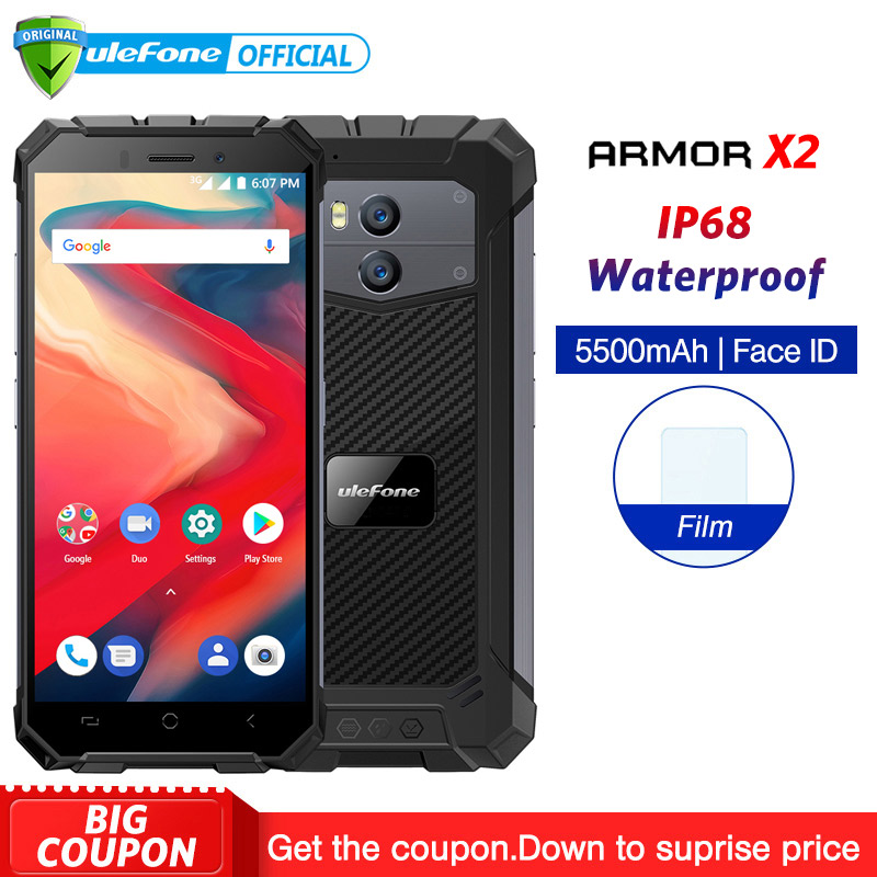 Ulefone Armor X2 IP68 Waterproof Mobile Phone Android 8.1 5.5″ HD Quad Core 2GB+16GB NFC Face ID 5500mAh Smartphone