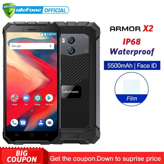 "Ulefone Броня X2 IP68 Водонепроницаемый мобильного телефона Android 8,1 5,5 ""HD 4 ядра 2 GB + 16 Гб NFC Face ID 5500 mAh смартфон"